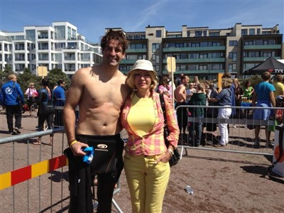 My #1 supporter and I after an Open Water Swim Race in 2012